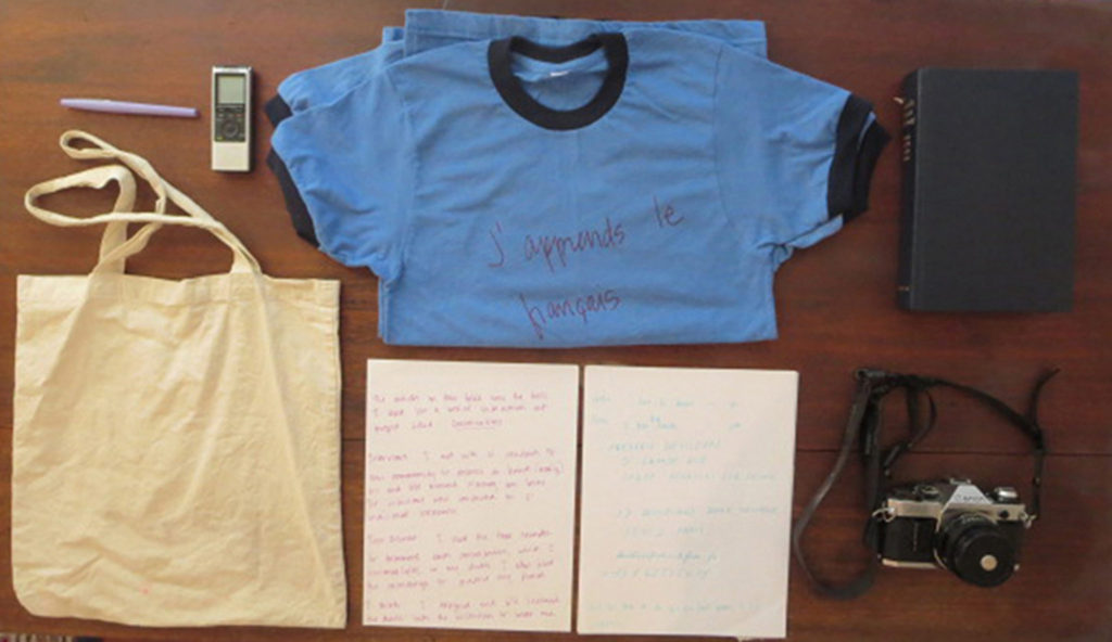 Conversations Gear: t-shirt uniform, film camera, tape recorder, paper, pens, dictionary and tote bag. -