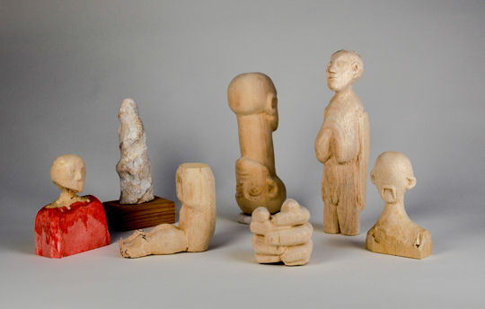 "Looking for a Crowd - An assembly of rocks and carved wood figures  Average figure size 8"" to 10"" inches tall  2015 ongoing"