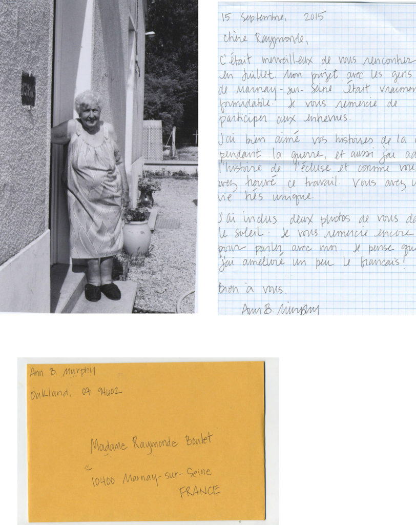 Package for Raymonde: my conversation with Raymonde was at her home in France. -
