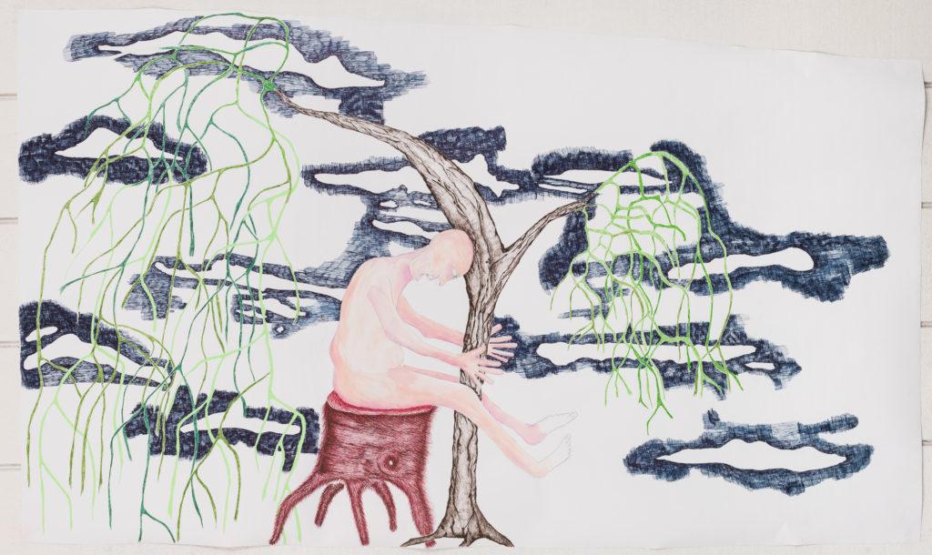 Tree Hugger - Pen on Paper  5'  by 3' 2019
