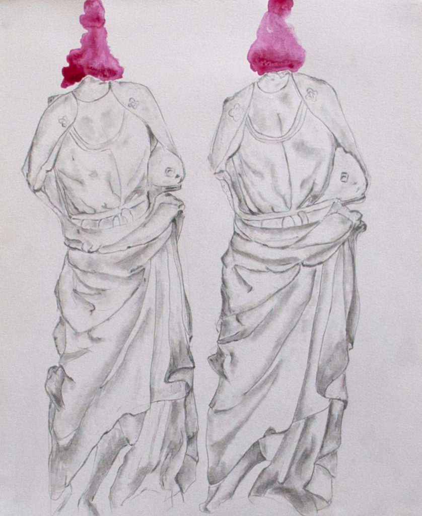Two Bodies No Heads - Pencil and Gouache on Paper 16